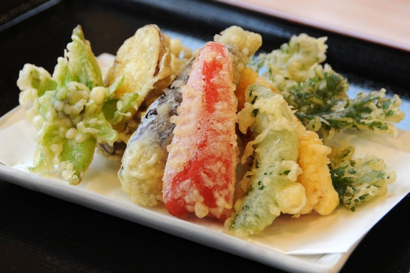農家レストラン みらんど袋田 天ざるそばの天ぷら
