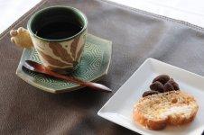 食後のコーヒーはもちろん笠間焼きで