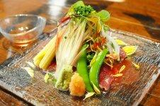 常陸牛のタタキ 夏野菜色々  ~トマト ポン酢ソースで